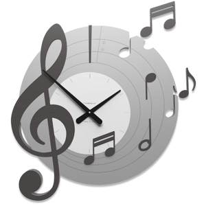 Picture of CALLEA DESIGN BELLINI ROUND WALL CLOCK MUSICAL NOTES GREY