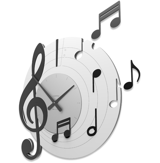 Picture of CALLEA DESIGN BELLINI ROUND WALL CLOCK MUSICAL NOTES BLACK AND GREY