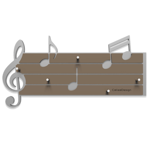 Picture of CALLEA DESIGN TARTINI KEY HOLDER STAVE AND MUSICAL NOTES ALUMINIUM AND DOVE GREY