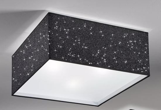 Picture of ANTEA LUCE SPARK CEILING LAMP SQUARE IN BLACK GLITTER FABRIC