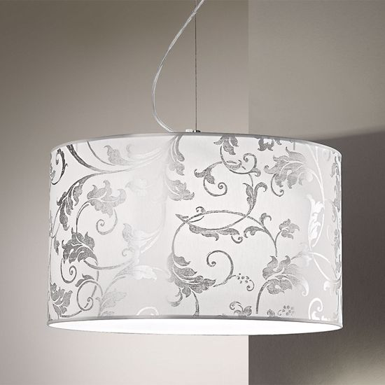 Picture of ANTEA LUCE FASHION PENDANT Ø50CM IN WHITE AND SILVER ARABESQUE FABRIC