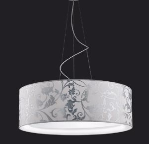 Picture of ANTEA LUCE FASHION PENDANT Ø75CM IN WHITE AND SILVER ARABESQUE FABRIC