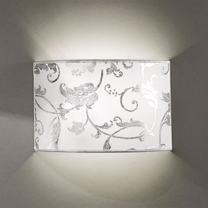 Picture of ANTEA LUCE FASHION WALL LAMP IN WHITE FABRIC SILVER ARABESQUE