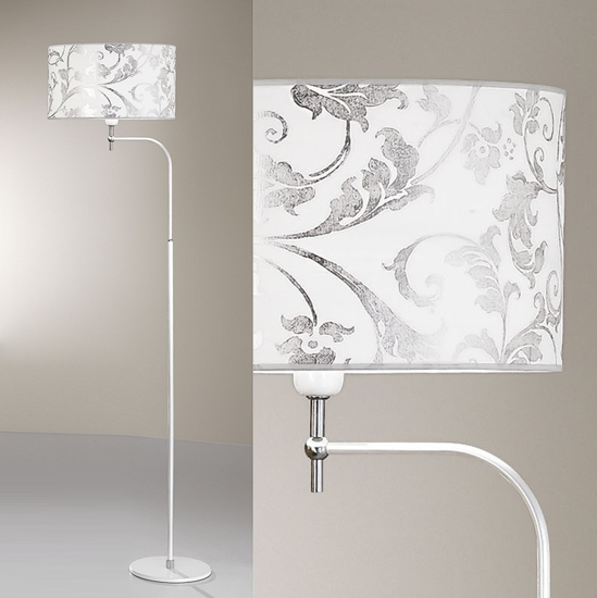 Picture of ANTEA LUCE FASHION FLOOR LAMP IN WHITE METAL WITH FABRIC LAMPSHADE