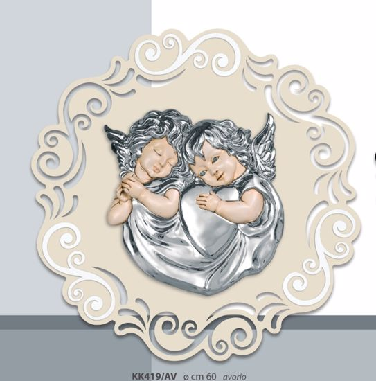 Picture of ROUND ART ABOVE BED SILVER ANGELS CREAM