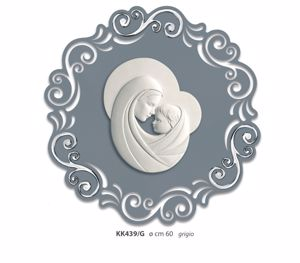 Picture of MODERN ART ABOVE BED MOTHER WITH CHILD ROUND GREY AND SILVER
