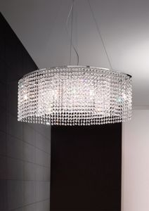 Picture of ANTEA LUCE KEY PENDANT LAMP OVAL CASCADE OF OCTAGONAL CRYSTALS