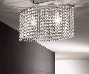 Picture of ANTEA LUCE KEY CEILING LAMP OVAL CASCADE OF FACETED CRYSTAL