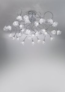Picture of ANTEA LUCE MAGNOLIA CEILING LAMP 30 LIGHTS IN CHROMED METAL AND GLASS HANDMADE