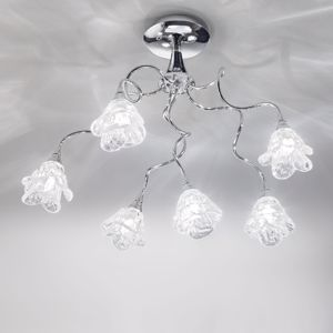 Picture of ANTEA LUCE MAGNOLIA CEILING LAMP 6 LIGHTS IN CHROMED METAL AND GLASS HANDMADE