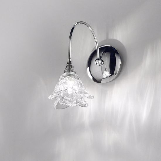 Picture of ANTEA LUCE MAGNOLIA WALL LAMP 1 LIGHT CHROME METAL AND HANDMADE GLASS