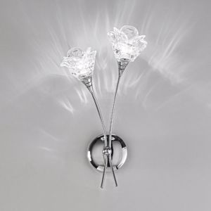Picture of ANTEA LUCE MAGNOLIA WALL LAMP 2 LIGHT METAL CHROME AND GLASS FLOWER