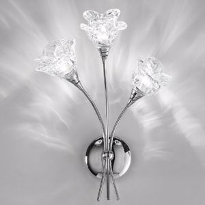 Picture of ANTEA LUCE MAGNOLIA WALL LAMP 3 LIGHT CHROMED METAL AND DOUBLE GLASS FLOWER