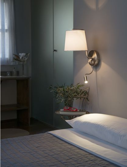 Picture of FARO BERNI BLACK WALL LAMP FOR NIGHT TABLE WITH ADJUSTABLE READING LIGHT