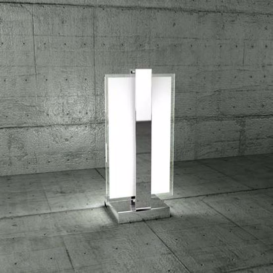 Picture of TOP LIGHT CROSS BEDSIDE LAMP CHROME METAL AND GLASS