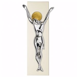 Picture of WALL CRUCIFIX SILVER GOLD AND IVORY COLOUR