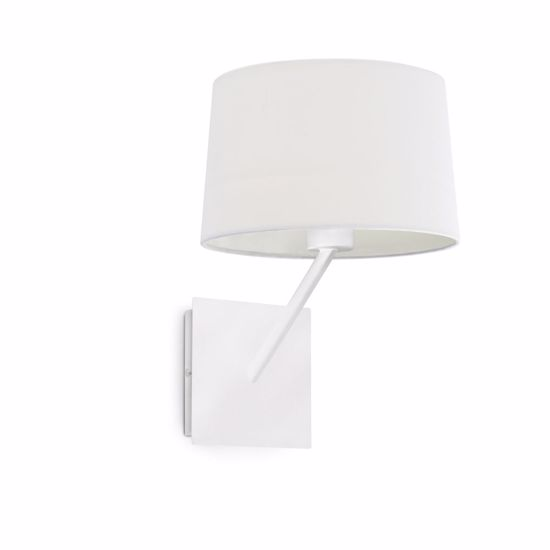 Picture of BEDSIDE WALL LAMP FOR BEDROOM MODERN DESIGN WHITE METAL AND FABRIC SHADE