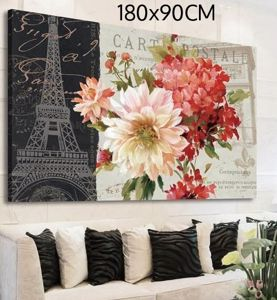 Picture of MANIE WALL ARTWORK FLOWERS AND EIFFEL TOWER ON CANVAS 180X90