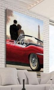Picture of MANIE WALL ARTWORK CAR WITH LOVERS PRINT ON CANVAS 100X50