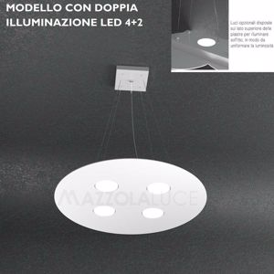 Picture of PENDANT LIGHT BY TOPLIGHT CLOUD LED DOUBLE LIGHTING 4+2 LIGHTS Ø50