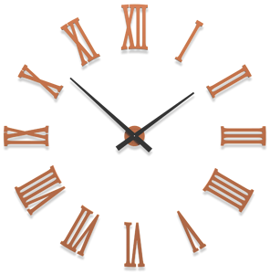 Picture of CALLEA DESIGN DA VINCI BIG MODULAR WALL CLOCK Ø124CM ROMAN NUMERALS TERRACOTTA COLOURED