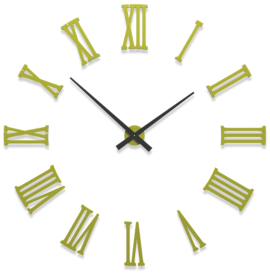 Picture of CALLEA DESIGN DA VINCI BIG MODULAR WALL CLOCK Ø124CM WHITE ROMAN NUMERALS CEDAR GREEN COLOURED