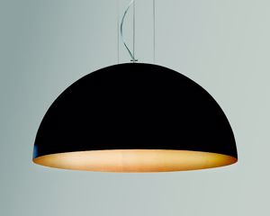 Picture of GIBAS RUGIADA DOME SUSPENSION LIGHT BLACK & GOLD Ø40CM