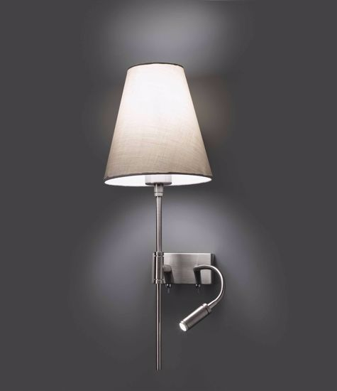 Picture of FARO SABANA WALL BEDSIDE LED DOUBLE LIGHT HOTEL STYLE FABRIC BEIGE RIGHT HANDED