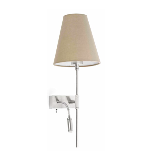 Picture of FARO SABANA WALL BEDSIDE LED DOUBLE LIGHT HOTEL STYLE FABRIC BEIGE LEFT HANDED