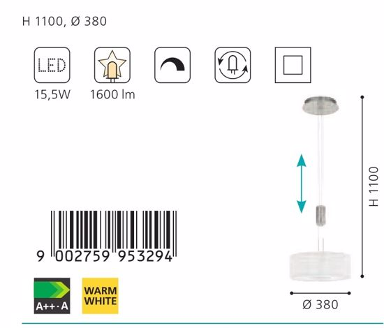 Picture of EGLO ROMAO 1 CEILING LED LIGHT Ø38CM WHITE FABRIC