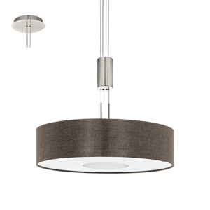 Picture of LED PENDANT LIGHT Ø53CM BROWN FABRIC LAMPSHADE MODERN DESIGN