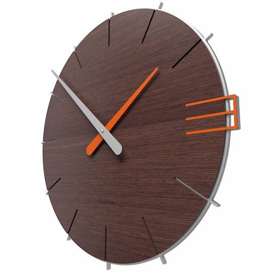Picture of CALLEA DESIGN MIKE MINIMAL WALL CLOCK IN WENGÉ OAK COLOUR