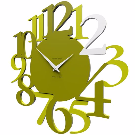 Picture of CALLEA DESIGN RUSSELL WALL CLOCK IN OLIVE GREEN COLOUR MODERN DESIGN