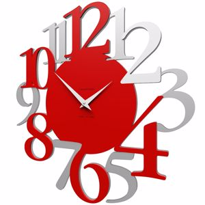 Picture of CALLEA DESIGN RUSSELL FLAME RED WALL CLOCK MODERN DESIGN