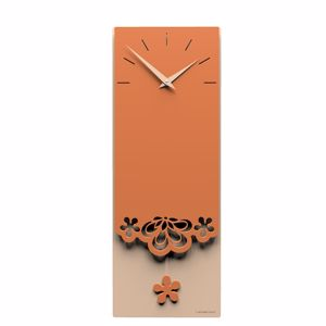 Picture of CALLEA DESIGN MERLETTO PENDULUM WALL CLOCK MODERN DESIGN IN TERRACOTTA COLOUR