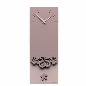 Picture of CALLEA DESIGN MERLETTO PENDULUM WALL CLOCK MODERN DESIGN IN PLUM GREY COLOUR