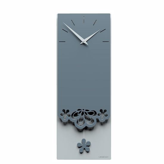 Picture of CALLEA DESIGN MERLETTO PENDULUM WALL CLOCK REFINED DESIGN IN MID BLUE COLOUR