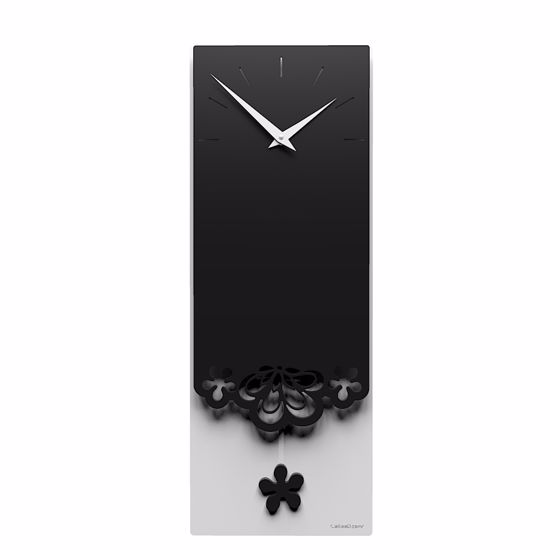 Picture of CALLEA DESIGN MERLETTO PENDULUM WALL CLOCK MODERN DESIGN IN BLACK COLOUR