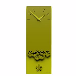 Picture of CALLEA DESIGN MERLETTO PENDULUM WALL CLOCK MODERN DESIGN IN OLIVE GREEN COLOUR