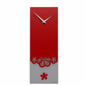 Picture of CALLEA DESIGN MERLETTO PENDULUM WALL CLOCK MODERN DESIGN IN RUBY COLOUR