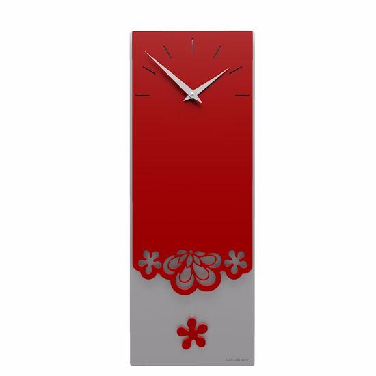 Picture of CALLEA DESIGN MERLETTO PENDULUM WALL CLOCK MODERN DESIGN IN RUBY COLOUR