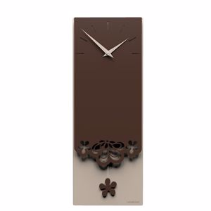 Picture of CALLEA DESIGN MERLETTO PENDULUM WALL CLOCK ORIGINAL DESIGN IN CHOCOLATE COLOUR
