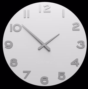 Picture of CALLEA DESIGN SMARTY NUMBER MODERN WALL CLOCK WHITE PAINTED