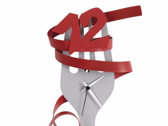 Picture of ARTI E MESTIERI ITALY ITALY WALL CLOCK RED-ALUMINIUM FOR KITCHEN