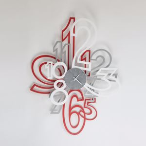 Picture of ARTI E MESTIERI MIMIC BIG WALL CLOCK ALUMINIUM/RED/WHITE