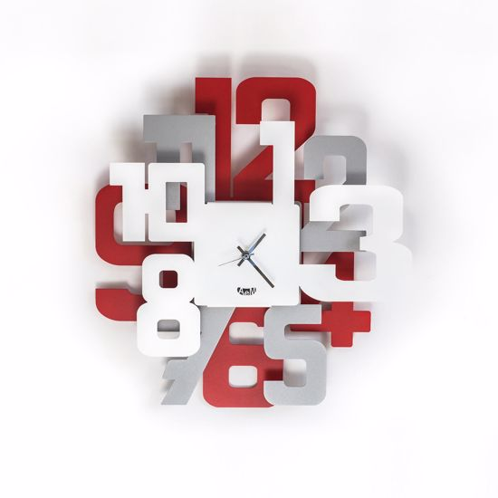 Picture of ARTI E MESTIERI SITTER Ø40 WALL CLOCK MODERN DESIGN ALUMINIUM-RED-WHITE