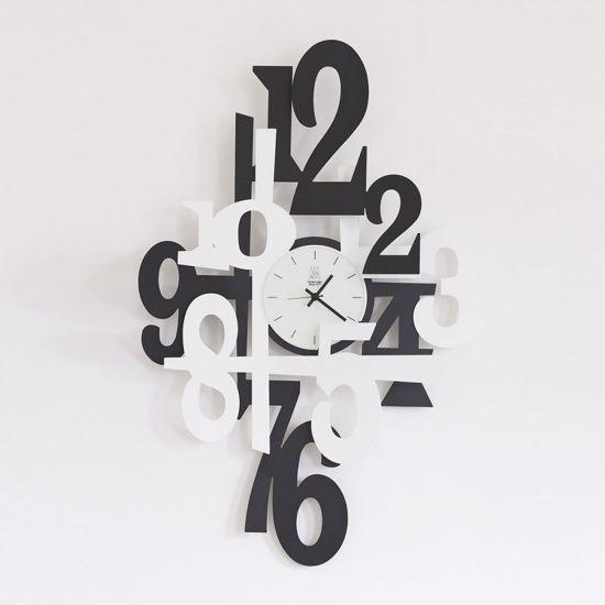 Picture of ARTI E MESTIERI INCASTRO WALL CLOCK ORIGINAL CLOCK MODERN DESIGN BLACK-WHITE
