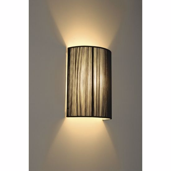Picture of SEMI-CYLINDER WALL LIGHT IN BLACK PLEATED FABRIC
