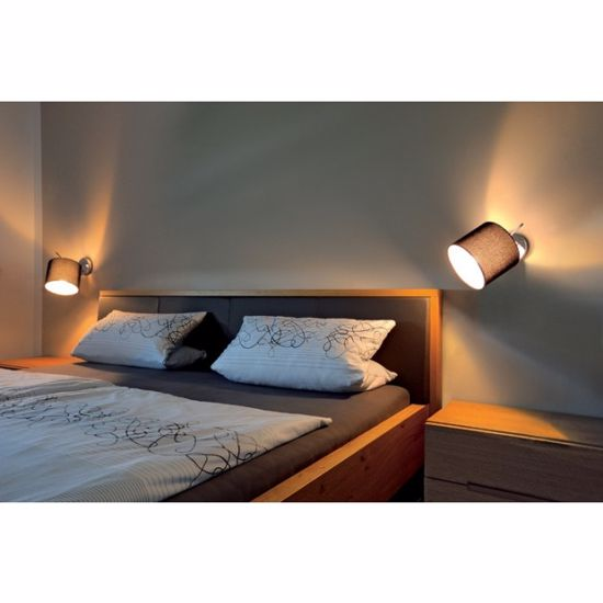 Picture of BLACK SWIVELLING WELL LIGHT ABOVE BEDSIDE TABLE WITH ON-OFF SWITCH