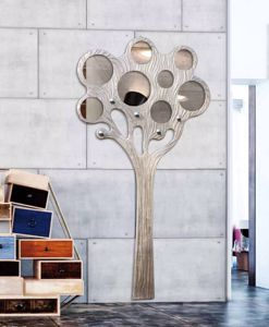 Picture of PINTDECOR ALBERO WALL COAT HANGER TREE WITH MIRROR HAND-DECORATED WITH SILVER FOIL DETAILS